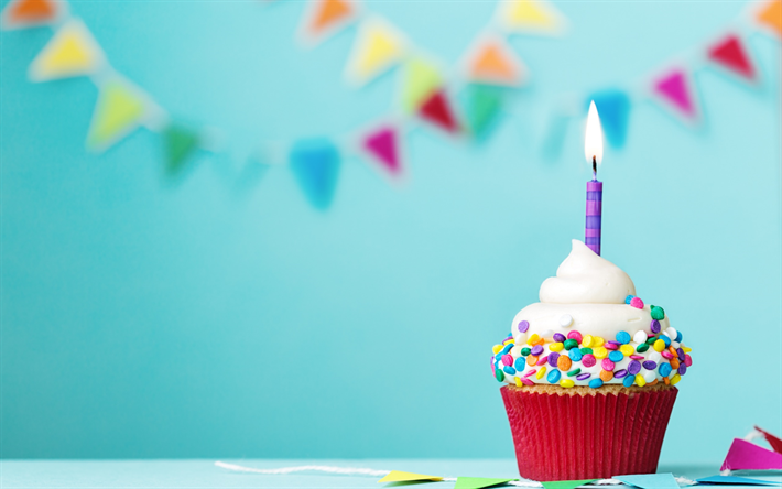 Thumb2 Happy Birthday Cake Burning Candle 1 Year